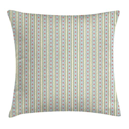 ZTLKFL Vintage Throw Pillow Cushion Cover, Retro Vertical Stripes and Stars with Pastel Colors Ornamental Symbols Pattern, Decorative Square Accent Pillow Case, 18 X 18 inches, Multicolor