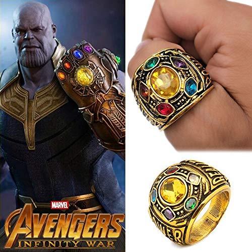 RUIMING Schurken Power Infinity Wars Thanos Schmuck Armband Buchstabe Ring für Herren, Kristalle Halloween Kostüm Requisite, Ring, Gold 8, 8 (Schurke Themen Kostüm)