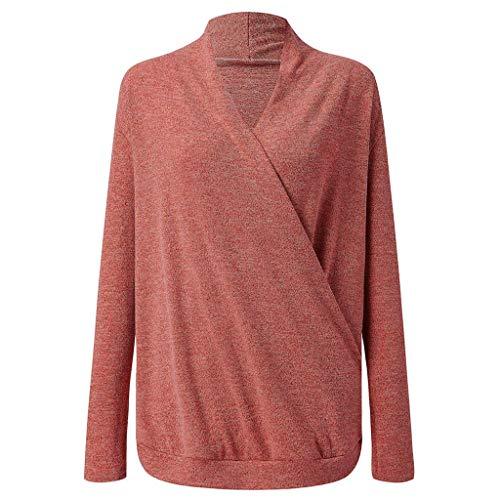 Sunnyuk Damen Langarmshirt gerippt v Ausschnitt Asymmetrie Oberteil Kreuz top lang lässig einfarbig elegant Slim blusen Frühling Herbst -