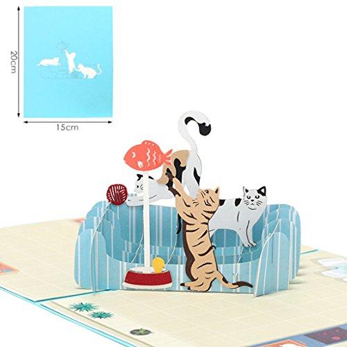 Qiuxiaoaa 3D Grußkarte, DIY Grußkarten handgemachte Geburtstag Hochzeitseinladung 3D Pop Up Karte Katze Fisch,