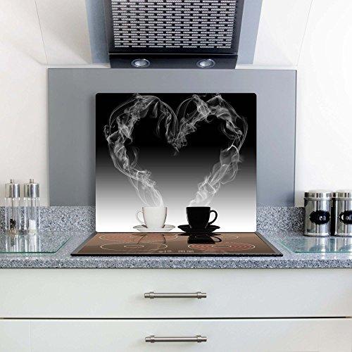 Gsmarkt | Herdabdeckplatte Schneidebrett Spritzschutz 60x52 | Bild auf Glas | Sicherheitsglas Gehärtetes Glas Bild | Motiv Kaffee