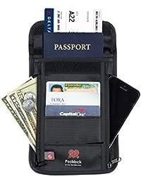 Organizador y Portador de Documentos de Viaje - La Mejor Cartera de Nylon para Sujetar en el Cuello con tecnología de bloqueo Rfid para una protección superlativa de sus tarjetas y pasaportes.