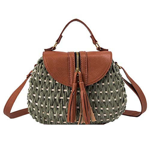 MA87 Damen Umhängetasche Handgestrickte Tasche Quaste Stroh Tasche Schulter Diagonale Tasche (Grün)