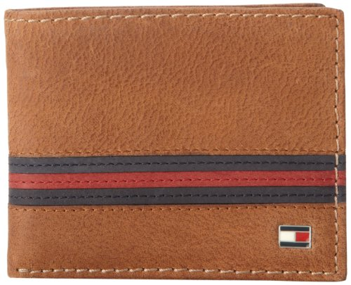 Tommy Hilfiger Men's Leather Passcase Wallet with Removable Card Holder,Yale Tan (Tommy Hilfiger Geldbörse Herren Slim)