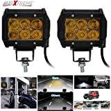 #9: AllExtreme 6 LED Fog Light / Work Light Bar Spot Beam Off Road Driving Lamp 2 Pcs 30W Cree,Universal Fitting hence Good Fit LED Work Lights for Royal Enfield, Truck, Car, ATV, SUV, Jeep all Bikes and Cars(Amber Yellow)