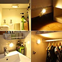 AMIR Wireless Night Light, (5 LED, 3 PACKS) Remote Control Cabinet Light, Battery Operated Puck Lights, Touch Switch Spot Lights, Bedside Sensor Lamp for Bedroom, Lockers, Hallway, Stair, Christmas from AMIR