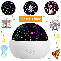 JBonest Star Night Light Projector 3 Films Nursery Projecting Lamp 360 Degree Rotating 8 Color Modes Lantern with USB Cable for Baby, Kid Bedroom Bedside Decor, White