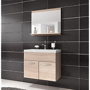 Möbel badezimmer  Badezimmer Badmöbel Montreal 02 60cm Waschbecken Sonoma Eiche ...