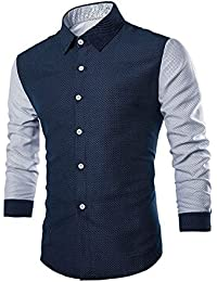BUSIM Men's Long Sleeved Shirt Fashion Stitching Wave Point Luxury Printing Casual Fashion Personality Slim T-Shirt...
