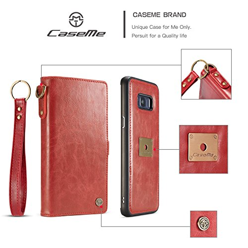 Handy-Hüllen & Hüllen, CaseMe Für Samsung Galaxy S8 Brieftasche Leder Tasche mit abnehmbarem Rücken mit Handschlaufe ( Farbe : Schwarz ) Rot