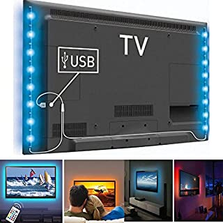 Amon Tech LED Home Theater TV Backlight Accent RGB Multi-Color-Changing Strips Light Power for 32-Inch to 65-Inch Flat Screen TV