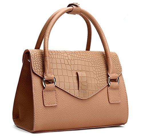 Xinmaoyuan Borse donna coccodrillo vacchetta modello di borsetta piccola piazza Borse Tracolla singola tasca,grigio Rosa