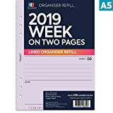 NBplanner® 2019 - Organizador de planificador semanal en dos páginas, A5, con líneas, recambio para agenda inglesa, 6 anillas, A5, carpeta compatible con inserto, color Lilac