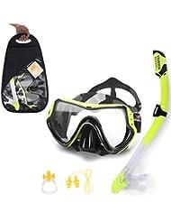 Máscara de buceo snorkel Set no nebulosidades hasta con enchufe de oído nariz Clip para apnea, amarillo