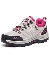 Damen Wanderschuhe Sportlich Trekking Klassische Gummi Sohle Dämpfung Entspannt Strapazierfähig Anti-Rutsch Abriebfest Outdoorschuhe Pink Blau 38 EU