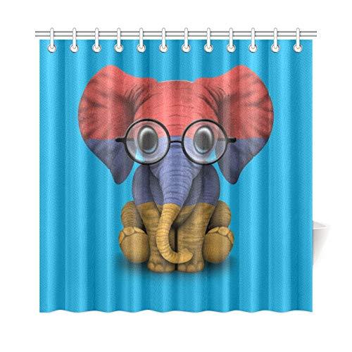 JOCHUAN Home Decor Bad Vorhang Armenische Flagge Baby Elefant Mit Brille Polyester Stoff Wasserdicht Duschvorhang Für Badezimmer, 72 X 72 Zoll Duschvorhänge Haken Enthalten