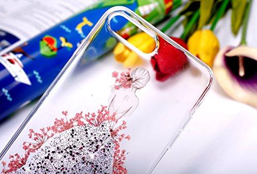 Cover iPhone 7 Plus,Custodia iPhone 7 Plus,ikasus® Crystal Clear TPU con Colorful pressato reale secco fiori di Bling di scintillio della scintilla Ragazze vestiti dal fiore modello per iPhone 7 Plus  Rosa