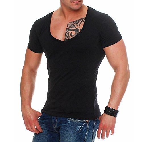 91U2 Young & Rich 1315 V-Neck Herren T-Shirt V-Ausschnitt Slim Fit Schwarz M