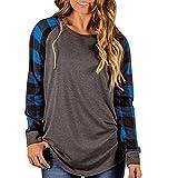 LILICAT Clothing Fashion Women Loose lattice Splice O-Neck Long Sleeve Casual Blouse Tops T Shirt (Blue, Size:L)