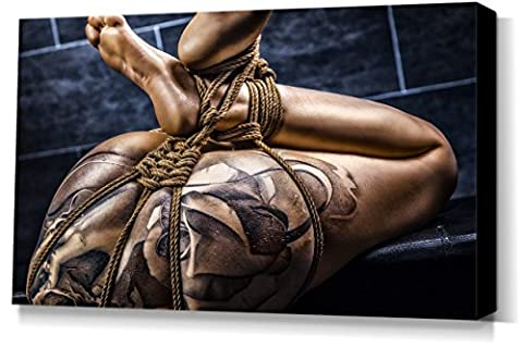Tattoo Girl, Nude Close Up - stretched canvas print - Fine Art of Bondage, sexy erotic fetish BDSM wall art, 40x60 cm, 16