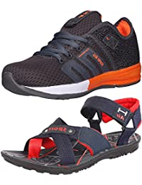 Ethics Perfect Combo Pack Of Orange Sports Shoes & Navy Blue Red Sandal For Men's