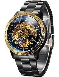 Alienwork IK Reloj Automático esqueleto mecánico relojes hombre sport Diseño intemporal Acero inoxidable negro 98226-20