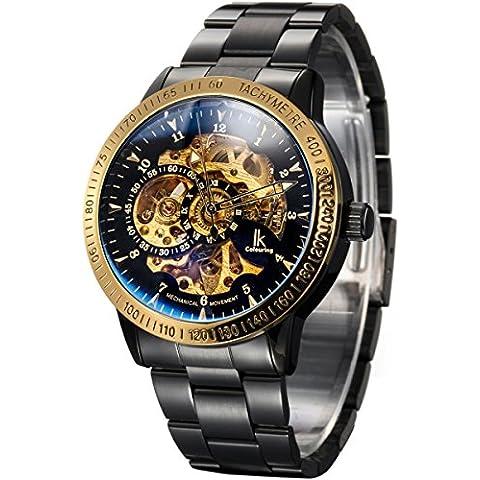 Alienwork IK Orologio automatico Scheletro meccanico Acciaio INOX nero nero (Rolex Omega Orologi Omega Watch)