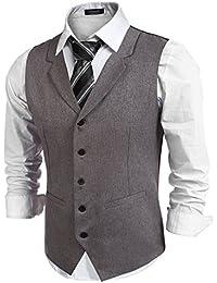Hasuit Homme Gilet Costume Veste Slim Fit Sans Manches Business Mariage S-XXL