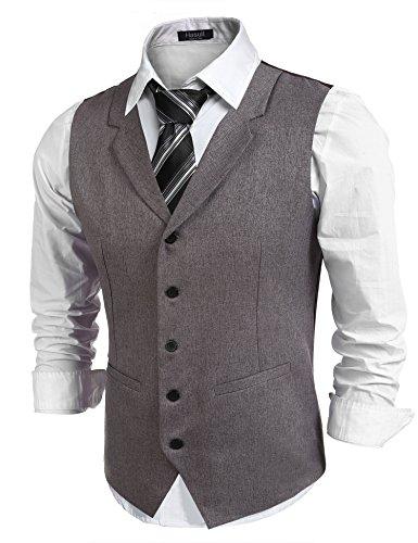 Hasuit Herren Anzugweste Gentleman Basic Mode Einreiher Fünf Knöpfe Weste, Braun, Gr XL (Drei-knopf-weste)