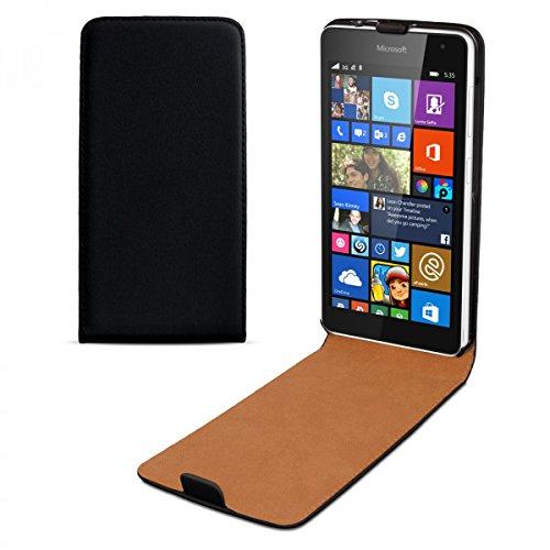 eFabrik Tasche Smartphone Hülle Schutztasche Schutzhülle Flip Case, Model:Für Microsoft Lumia 535;Farbe:Schwarz