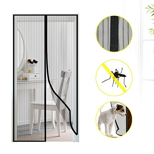 Fliegengitter Tür Insektenschutz, Mture Magnet Fliegenvorhang, Der Magnetvorhang ist Ideal für die Balkontür, Kellertür, Terrassentür, Kinderleichte Klebemontage Ganz Ohne Bohren,90 x 210cm (Schwarz)