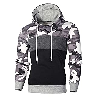 Kaiki Pullover der Männer, Mens 'Print Letter Patchwork Hoodie Kapuzen Sweatshirt Tops Jacke Mantel Outwear (L, Grau)
