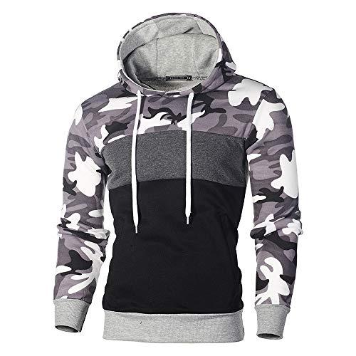 Kaiki Pullover der Männer, Mens \'Print Letter Patchwork Hoodie Kapuzen Sweatshirt Tops Jacke Mantel Outwear (L, Grau)