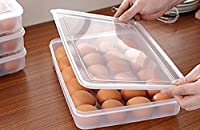 PETRICE 24 Grids Eggs Dispenser Covered Egg Holder Storage Container Fridge Grids Clear Large Capacity