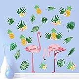 decalmile Stickers Muraux Flamant Rose Autocollant Mural Feuilles Tropicale et Ananas Salon Chambre Canapé Fond Décoration Murale