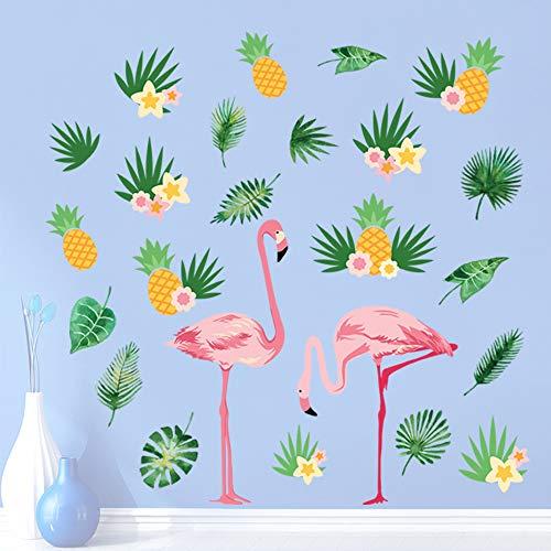 decalmile Wandtattoo Flamingo Wandsticker Tropische Blätter und Ananas Wandaufkleber Wohnzimmer Schlafzimmer Büro Wanddeko -