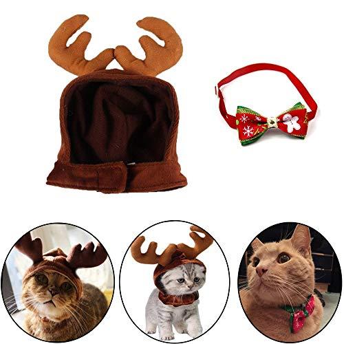 Kungfu Mall 3PCS Costume de Noël pour animal domestique, chat, chien, bois, cornes de renne, chapeau pour animal de compagnie