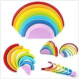 Gobus 7 Colori in Legno Arcobaleno Blocchi impilabili Giocattolo educativo Puzzle Geometria Mattoni per i Bambini