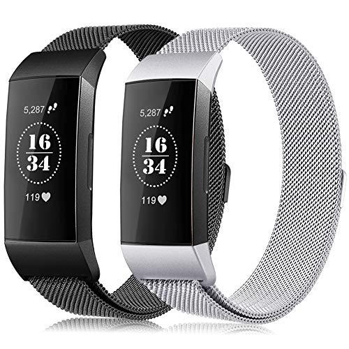 Gogoings Kompatibel mit Fitbit Charge 3 Armband Damen Herren Edelstahl Ersatzarmband Für Fitbit Charge3/SE Metallarmband Sport Fitness Tracker Zubehör Armbänder (Schwarz + S, L)