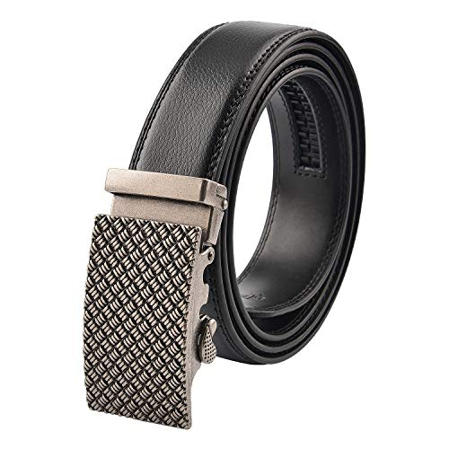 KEYNAT Cinturón Hombre Cuero - Cinturones Piel Automática Con Hebilla Trinquete Plateada (007-7)