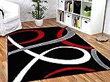 Maui Designer Teppich Schwarz Rot Loops