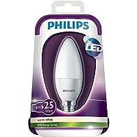 4Pack Philips candela LED E14, lampadina, satinato, 4W (25W)–bianco caldo