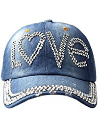 Accessoryo - denim détresse baseball casquette de femmes avec strass embellissement 'amour'