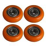 BQLZR Orange esf¨¦rico arco recubierto gu¨ªa polea rodillo de bolas rodamiento rueda para la ventana de la puerta Pack de 4
