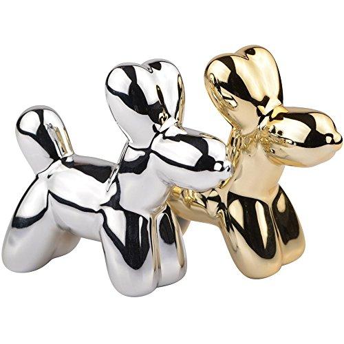 Salero y pimentero perros globos Crazy Dogs dorado y gris cromo cerámica la chaise longue 35–2K-023