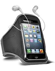 Fone-Case HTC One M7 verstellbaren Sport Fitness Jogging Arm Band Hülle & 3,5 mm In-Ear-Ohrhörer Basis Kopfhörer (Grey)