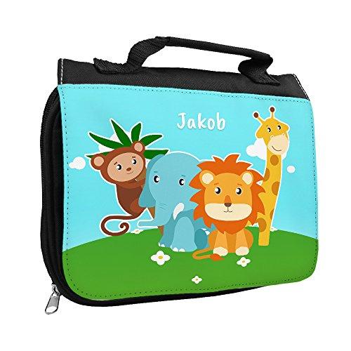 Kulturbeutel mit Namen Jakob und Motiv mit Zoo-Tieren für Jungen | Kulturtasche mit Vornamen | Waschtasche für Kinder