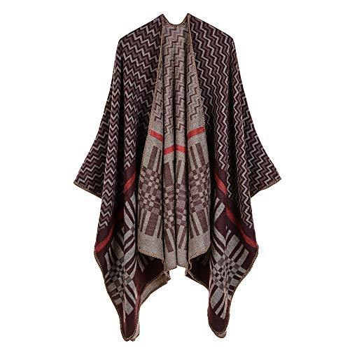 Gaoqq scialle acrilico da donna, scialle/mantello di cachemire classico modello onda,brown