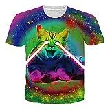 RAISEVERN Herren Unisex Bunte beiläufige 3D T Shirts Funny Short Sleeve Kleidung