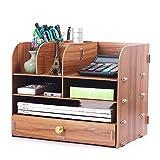 LCTZWJ Bürobedarf Holz Schreibtisch Organizer 9 Fach Holz Kunststoff Composite Schreibtisch Organizer, ideal für Bücherregal, Make-up Veranstalter (Farbe : Brown)
